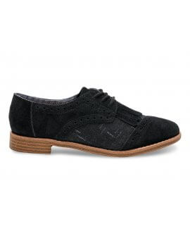 BLACK SUEDE/WOOL WITH KILTIE WOMEN'S BROGUES