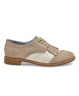 DESERT TAUPE SUEDE/WOOL WITH KILTIE WOMEN'S BROGUES
